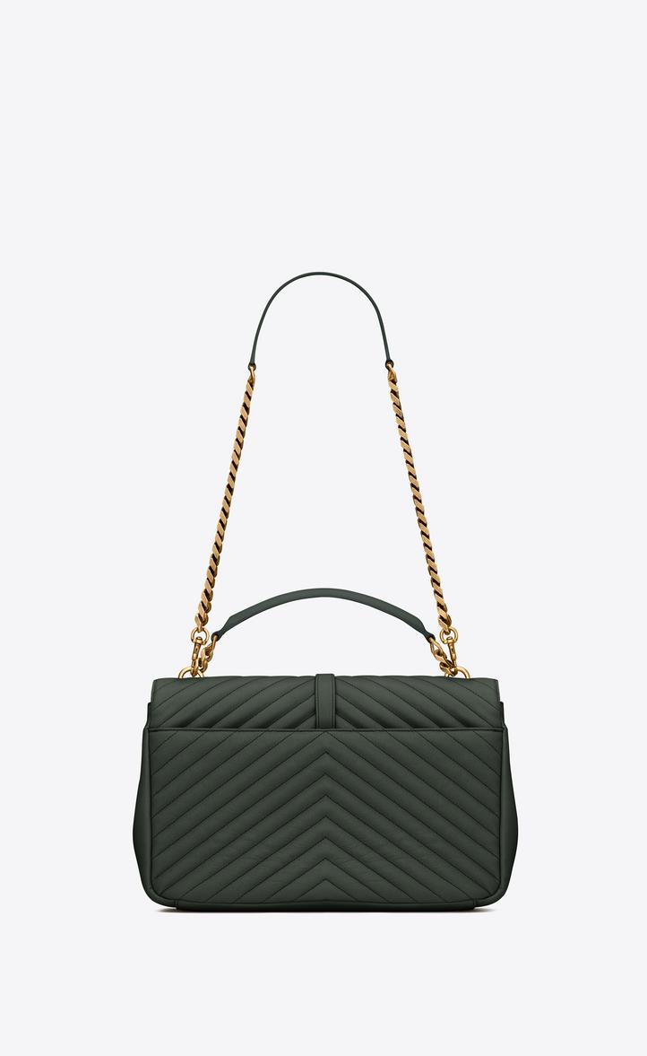 d1de38851ea5 Zoom  Classic Large MONOGRAM SAINT LAURENT COLLÈGE Bag in Dark Green  Matelassé Leather