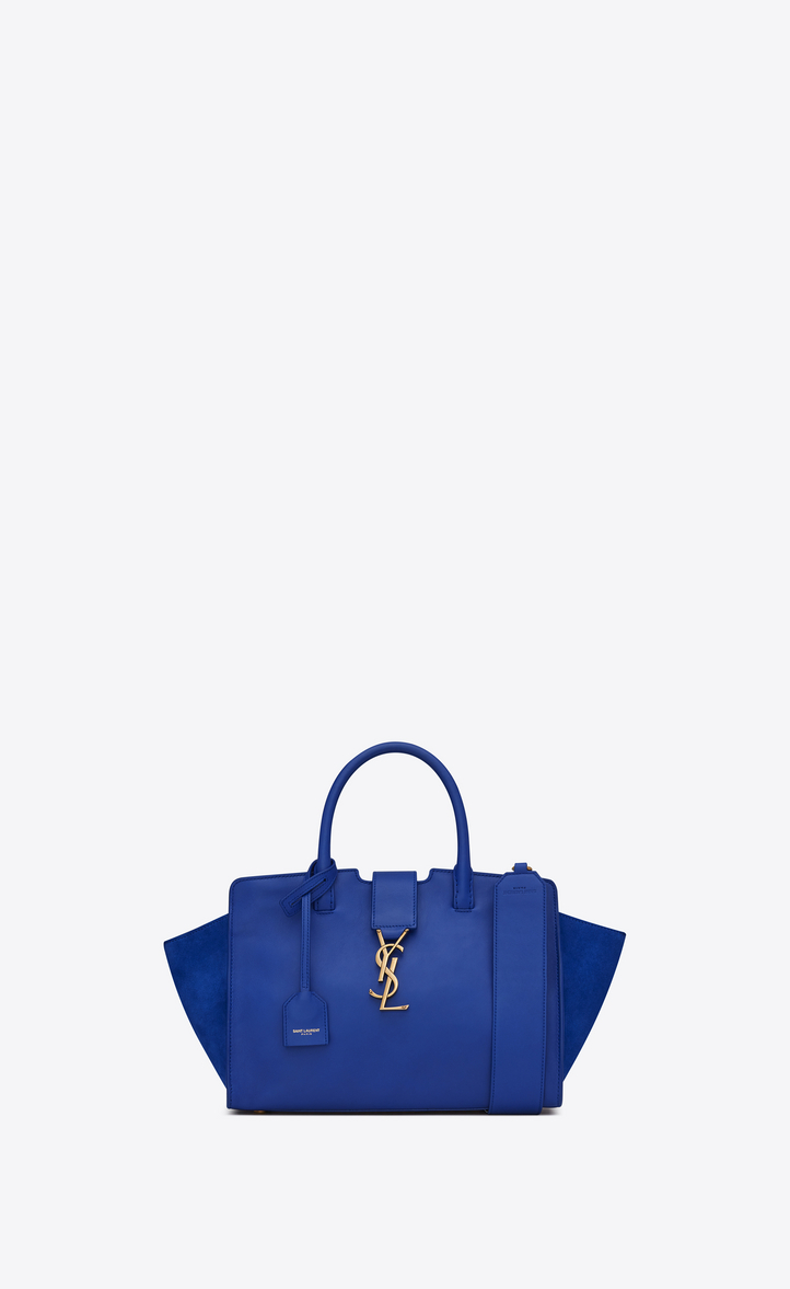 baby monogram saint laurent Downtown cabas bag in ultramarine leather and  suede, Front view 1032f6d0e9