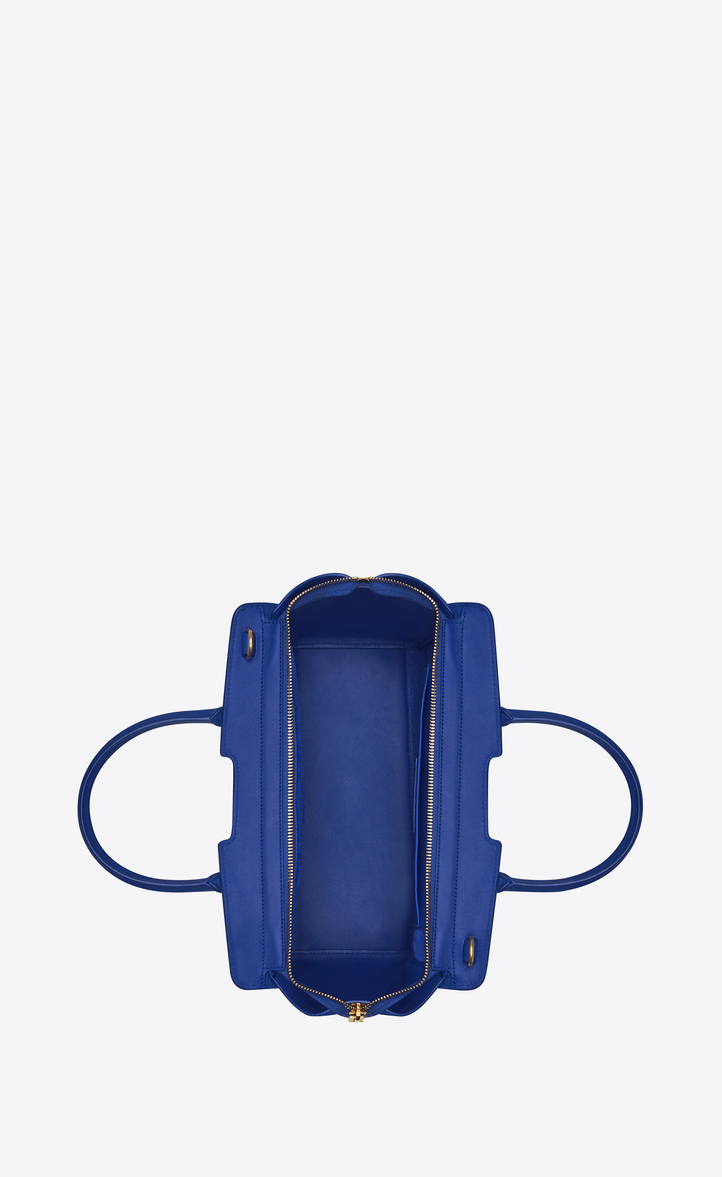 Zoom  baby monogram saint laurent Downtown cabas bag in ultramarine leather  and suede, Different angle view 47fa9bc2b5