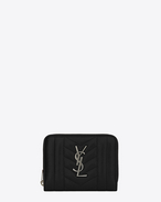 SAINT LAURENT Monogram Mix Matelassé D monogram compact zip around wallet in black mixed matelassé leather f