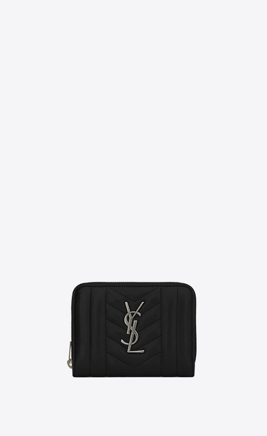 SAINT LAURENT Monogram Mix Matelassé D monogram compact zip around wallet in black mixed matelassé leather a_V4
