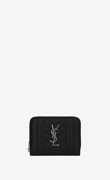 SAINT LAURENT Monogram Mix Matelassé D monogram compact zip around wallet in black mixed matelassé leather v4
