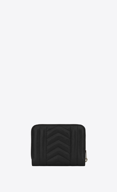 SAINT LAURENT Monogram Mix Matelassé D monogram compact zip around wallet in black mixed matelassé leather b_V4