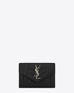 Small MONOGRAM SAINT LAURENT Envelope Wallet in Black Mixed Matelassé Leather
