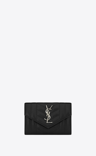 SAINT LAURENT Monogram Mix Matelassé D small monogram envelope wallet in black mixed matelassé leather a_V4
