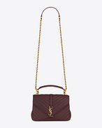 Classic Medium MONOGRAM SAINT LAURENT COLLÈGE Bag bordeaux in pelle matelassé