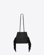 SAINT LAURENT Bucket Bag D Classic Baby EMMANUELLE Fringed Chain Bucket Bag in Black Leather f