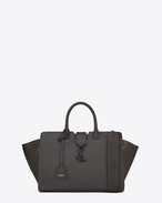 SAINT LAURENT MONOGRAMME TOTE D small monogram downtown cabas bag in dark anthracite leather and crocodile embossed leather f