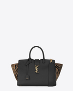 SAINT LAURENT MONOGRAMME TOTE D small monogram saint laurent Downtown cabas bag in black leather and black and tan zebra printed cowhide f