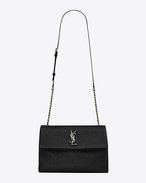 SAINT LAURENT West Hollywood D Mittlere West Hollywood Monogram Saint Laurent Tasche aus schwarzem Leder mit Krokodilprägung f