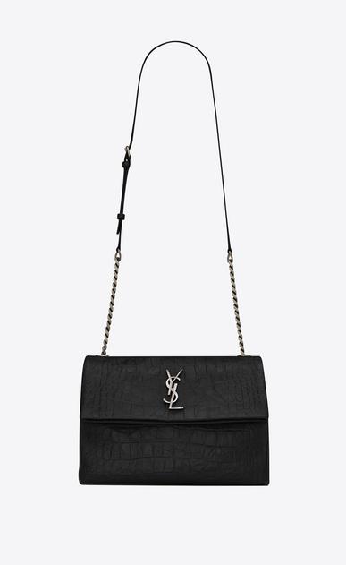 SAINT LAURENT West Hollywood D medium west hollywood bag in black crocodile embossed leather a_V4
