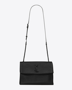 SAINT LAURENT West Hollywood D Medium WEST HOLLYWOOD MONOGRAM SAINT LAURENT Bag nera in pelle a texture grain de poudre f