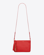 SAINT LAURENT Monogram fringes D Small MONOGRAM SAINT LAURENT Crossbody Bag in Red Leather f