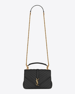 SAINT LAURENT Monogram College D Classic Medium MONOGRAM SAINT LAURENT COLLÈGE Bag nera in pelle matelassé e parti metalliche dorate vintage f