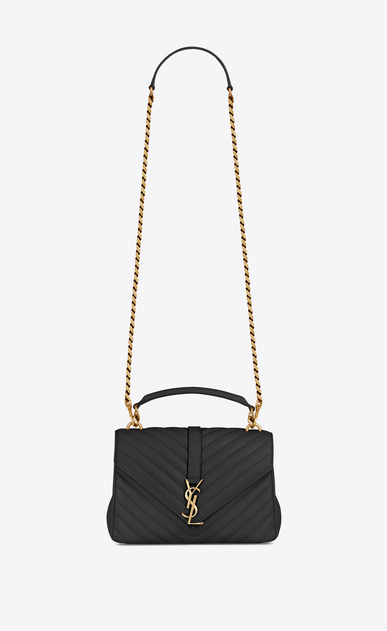medium collège bag in black matelassé leather and vintage gold-toned hardware