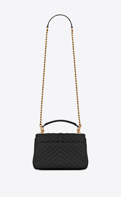 SAINT LAURENT Monogram College D classic medium collège bag in black matelassé leather and vintage gold-toned hardware b_V4
