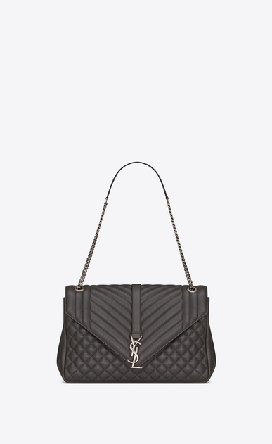 SAINT LAURENT Monogram envelope Bag D classic large soft envelope in dark anthracite mixed matelassé leather a_V4