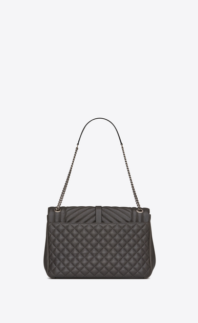 SAINT LAURENT Monogram envelope Bag D classic large soft envelope in dark anthracite mixed matelassé leather b_V4
