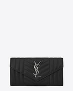 SAINT LAURENT Monogram Mix Matelassé D Portafogli Large MONOGRAM SAINT LAURENT con patta nero in pelle mista matelassé f