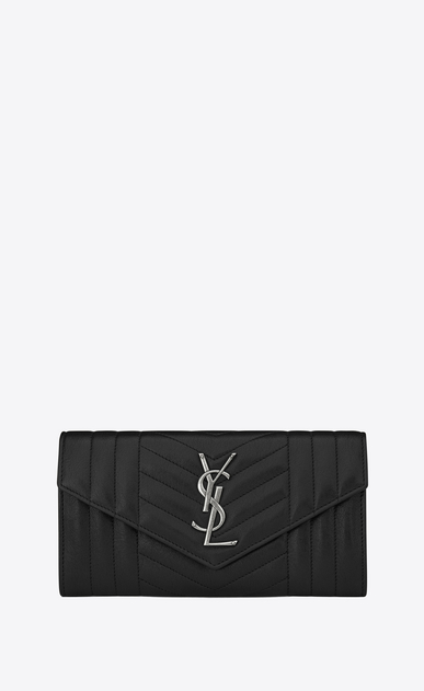 SAINT LAURENT Monogram Mix Matelassé D large monogram flap wallet in black mixed matelassé leather a_V4