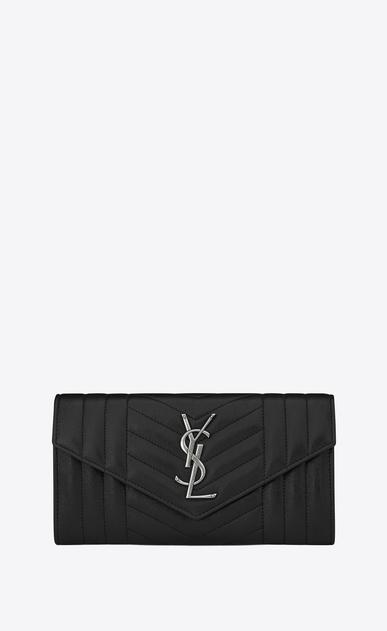 SAINT LAURENT Monogram Mix Matelassé D large monogram flap wallet in black mixed matelassé leather v4