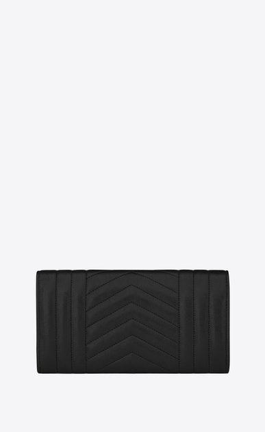 SAINT LAURENT Monogram Mix Matelassé D large monogram flap wallet in black mixed matelassé leather b_V4