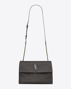 SAINT LAURENT West Hollywood D Sac Medium WEST HOLLYWOOD MONOGRAMME en cuir embossé façon crocodile anthracite foncé f