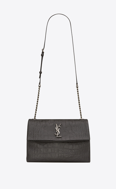 SAINT LAURENT West Hollywood D medium west hollywood bag in dark anthracite crocodile embossed leather a_V4