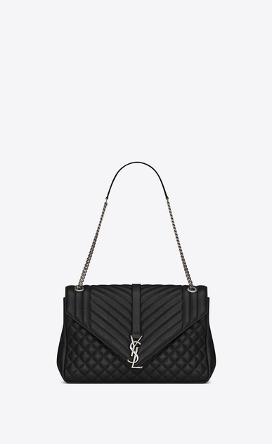 SAINT LAURENT Monogram envelope Bag D classic large soft envelope in black mixed matelassé leather a_V4