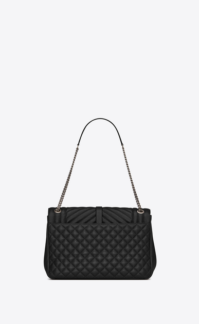 SAINT LAURENT Monogram envelope Bag D classic large soft envelope in black mixed matelassé leather b_V4
