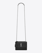 SAINT LAURENT Sunset D Kleine Sunset Monogram Saint Laurent Baby Tasche aus schwarzem Narbenleder f