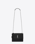 SAINT LAURENT Sunset D Sac SUNSET MEDIUM MONOGRAMME en cuir grainé noir f