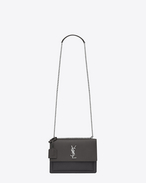 SAINT LAURENT Sunset D Mittlere Sunset Monogram Saint Laurent Baby Tasche aus dunkel- anthrazitgrauem Narbenleder f