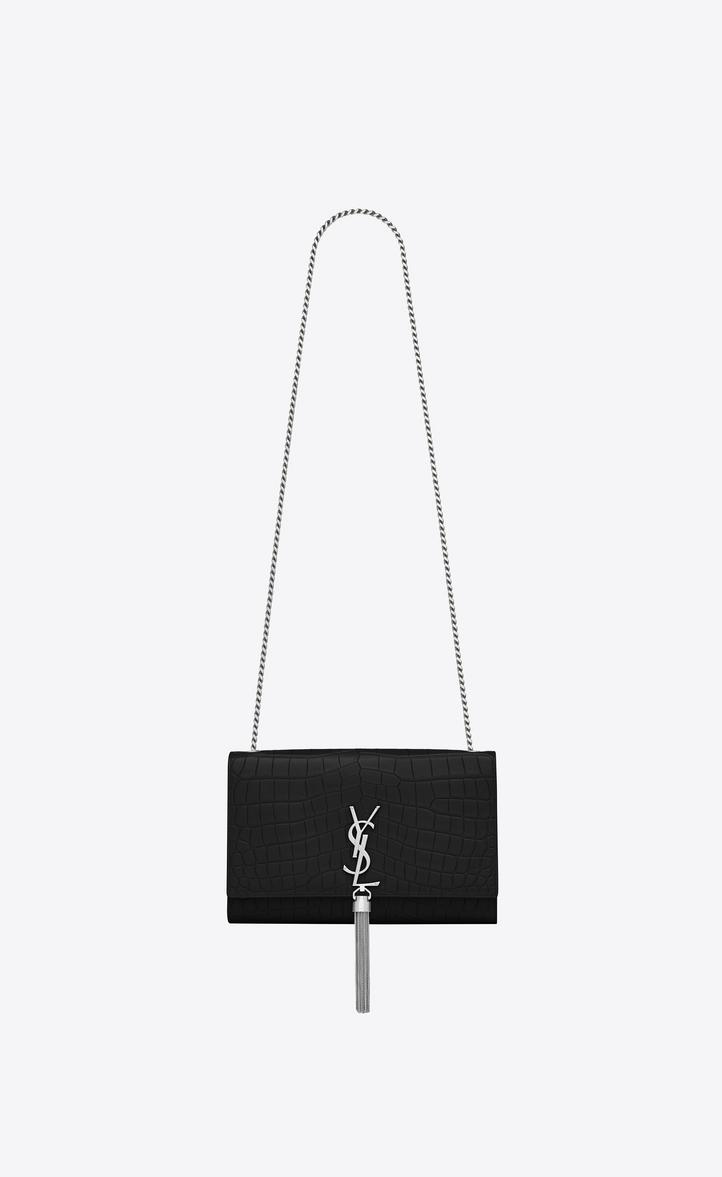 6464b6c07c31 Saint Laurent Medium Kate Tassel Chain Bag In Black Crocodile ...