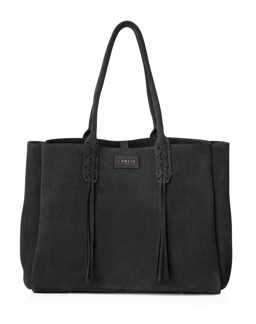 lanvin small shopper bag in black suede women