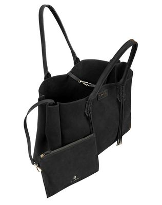 LANVIN SMALL SHOPPER BAG IN BLACK SUEDE Tote D d