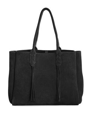 LANVIN SMALL SHOPPER BAG IN BLACK SUEDE Tote D r