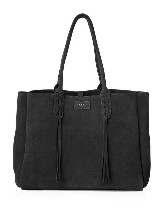 LANVIN SMALL SHOPPER BAG IN BLACK SUEDE Tote D f