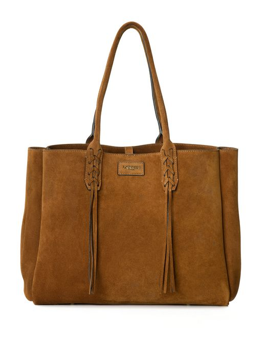 lanvin small shopper bag in havana suede women