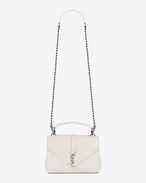 classic medium monogram saint laurent collège bag in dove white matelassé leather