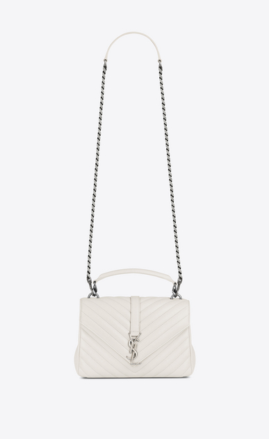 SAINT LAURENT Monogram College D classic medium collège bag in dove white matelassé leather a_V4