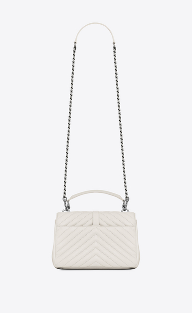SAINT LAURENT Monogram College D classic medium collège bag in dove white matelassé leather b_V4