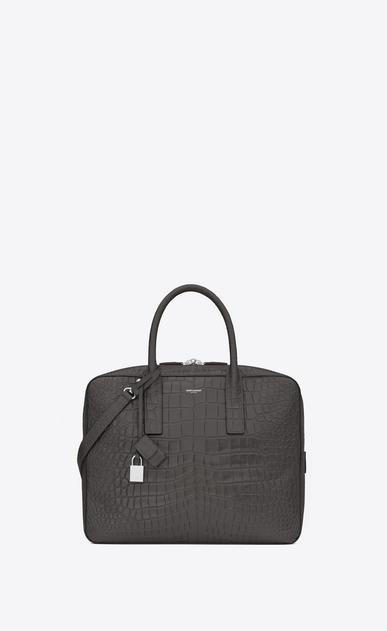 SAINT LAURENT Business U Classic Small MUSEUM Briefcase in Dark Anthracite Crocodile Embossed Leather a_V4
