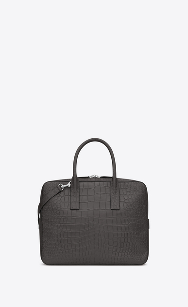 SAINT LAURENT Business U Classic Small MUSEUM Briefcase in Dark Anthracite Crocodile Embossed Leather b_V4