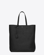 SHOPPING SAINT LAURENT Tote Bag in Black Crocodile Embossed Leather