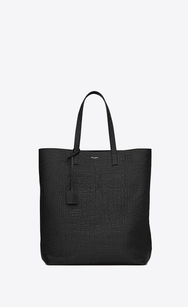 SAINT LAURENT Totes Man SHOPPING SAINT LAURENT Tote Bag in Black Crocodile Embossed Leather a_V4