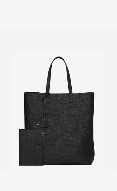 SAINT LAURENT Totes Man SHOPPING SAINT LAURENT Tote Bag in Black Crocodile Embossed Leather b_V4