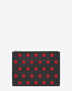 SAINT LAURENT rider slg U rider california tablet-beutel aus schwarzem leder und rotem narbenleder mit metallic-optik und reißverschluss f