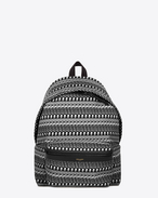 CITY Backpack in Black and Off White Skeleton Printed Canvas Twill and Black Nylon and Leather