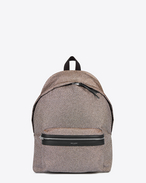 CITY Backpack in Gold and Silver Metallic Polyester and Black Nylon and Leather